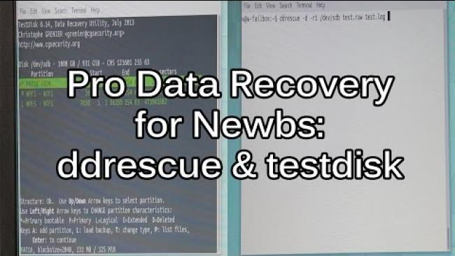 Embedded thumbnail for Data Recovery Tutorial - Getting started with DDRescue and TestDisk